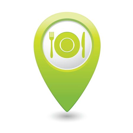 fork in the road: Map pointer with restaurant icon  Vector illustration