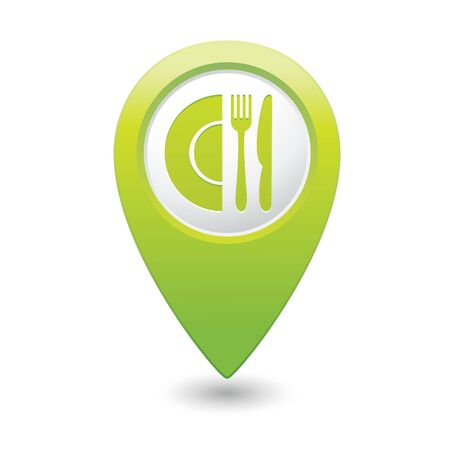 pin icon: Map pointer with restaurant icon  Vector illustration