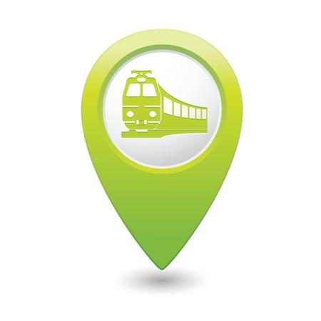 excursions: Map pointer with train symbol  Vector illustration
