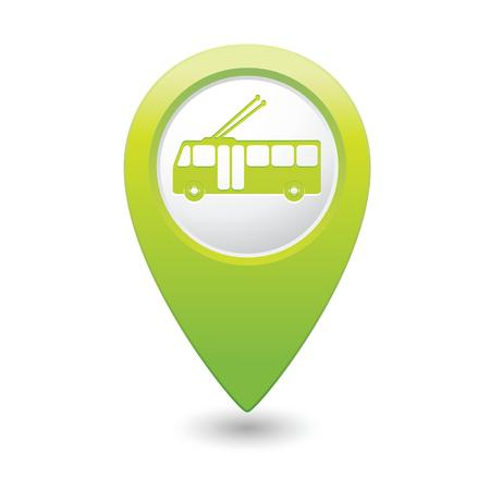 trolleybus: Map pointer with trolleybus icon  Vector illustration Illustration
