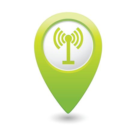 wifi sign: Map pointer with wireless icon  Vector illustration