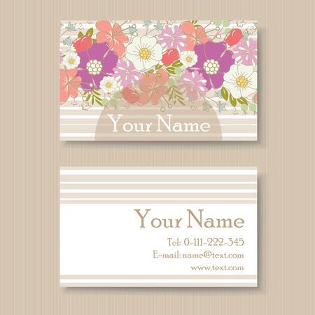 Floral vintage business card Vector
