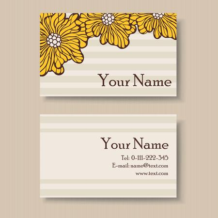 Floral business card design with place for your text Vector