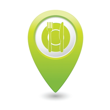 Map pointer with restaurant icon illustration Vector