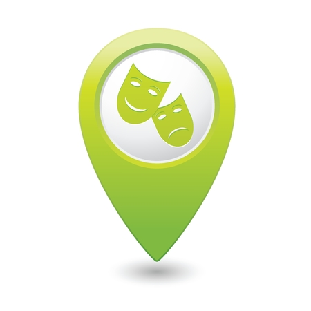 Map pointer with theater icon illustration Vector