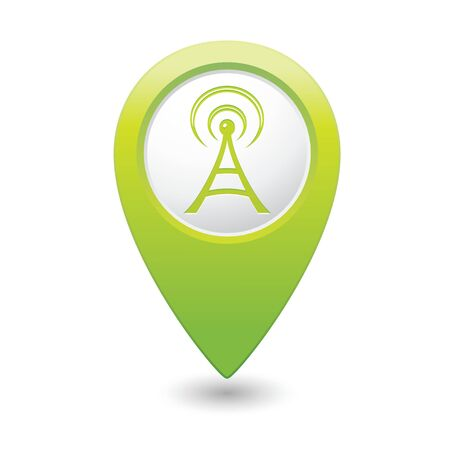 oftware: Map pointer with wireless icon illustration
