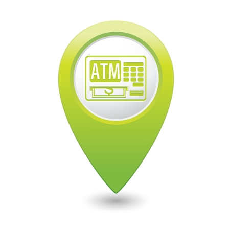 Map pointer with ATM machine icon illustration Vector