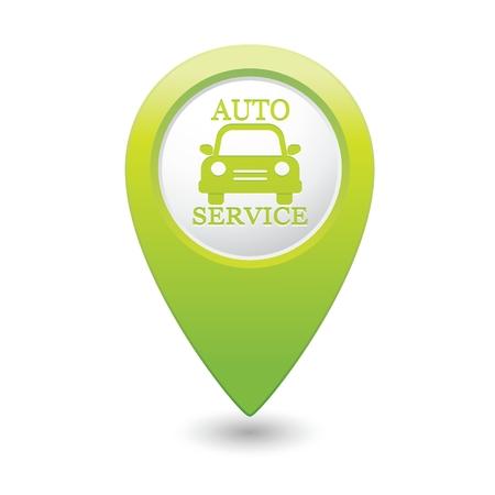 car fix: Car service in Green map pointer illustration Illustration