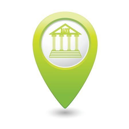 Map pointer with bank building icon illustration Vector