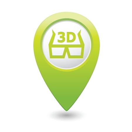 cinematografico: Los marcadores del mapa con los vidrios 3D icono ilustraci�n Vectores