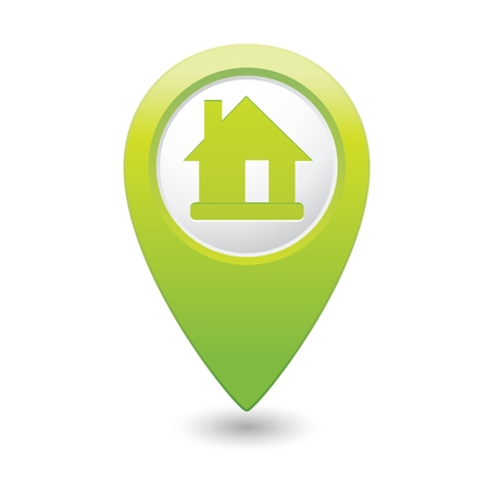market place: Map pointer with home icon. Vector illustration