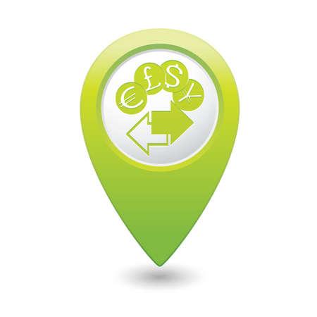 Map pointer money exchange icon illustration Vector