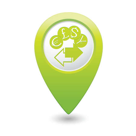 pin icon: Map pointer money exchange icon illustration