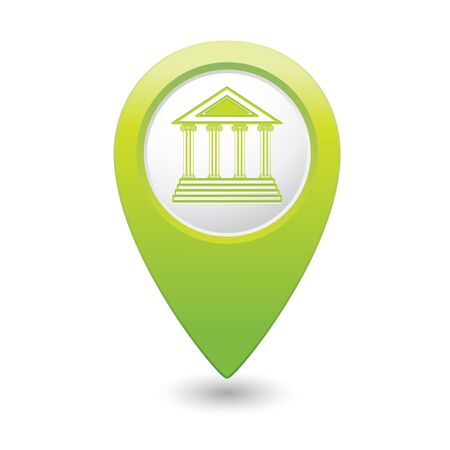 tour guide: Map pointer with museum icon illustration