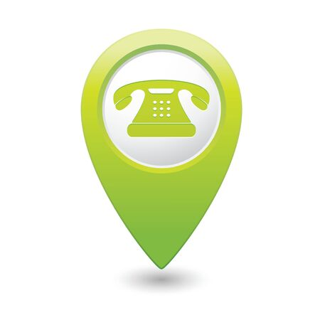 long distance: Map pointer with telephone icon illustration