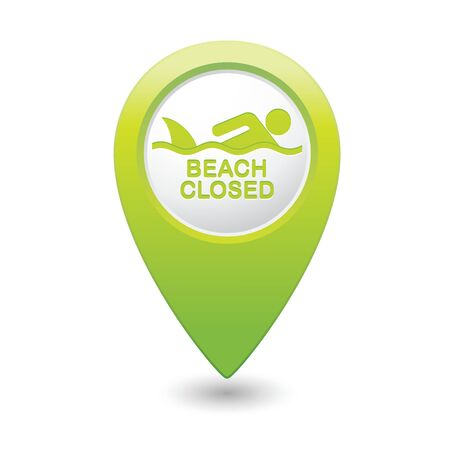 sighting: Beach Closed, shark sighting sign on map pointer illustration.