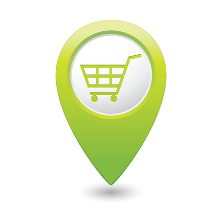 market place: Map pointer with shopping cart icon illustration