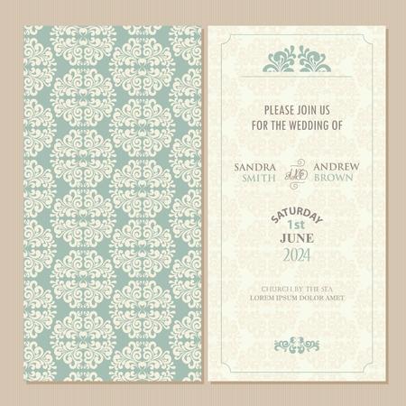 Bruiloft vintage uitnodigingskaart of aankondiging