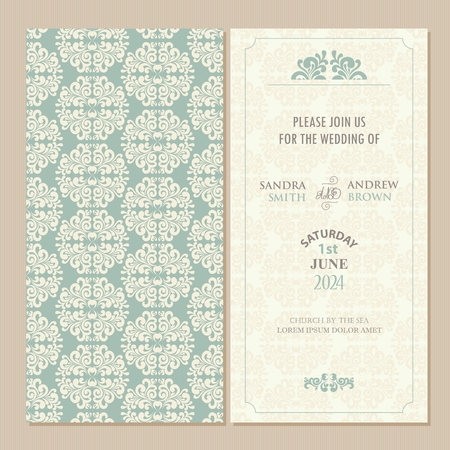 green dates: Wedding vintage invitation card or announcement