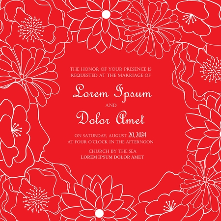 Red floral wedding invitation card Vector