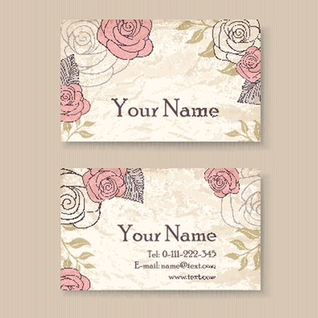 Vintage floral business card template with roses royalty free vector vintage floral business card template with roses cheaphphosting Gallery
