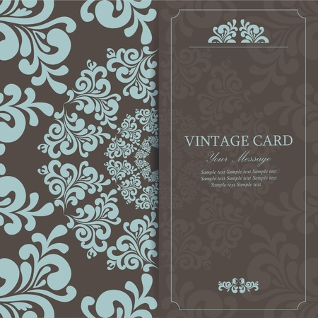 Wedding vintage invitation card or announcement with beautiful ornament Vector
