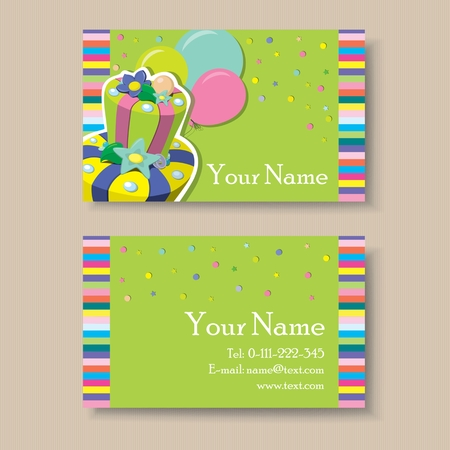 Business or visiting card with birthday cake