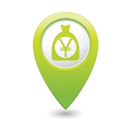 yen sign: Bolsa de dinero con el signo de yenes en el mapa verde puntero ilustraci�n