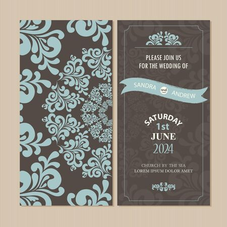 graphic backgrounds: Wedding vintage invitation card or announcement