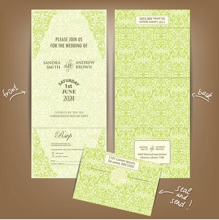 vintage all in one wedding invitation seal and send card vector - All In One Wedding Invitations