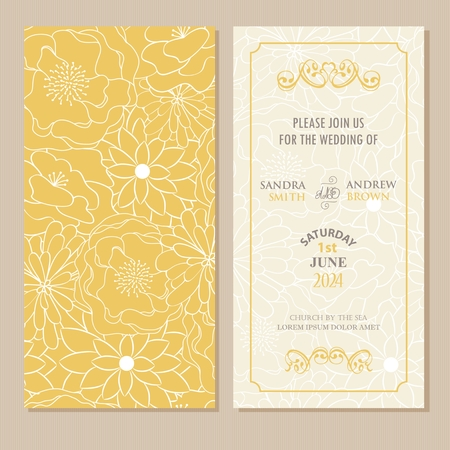 greetings card: Wedding invitation or announcement card with beautiful floral background.