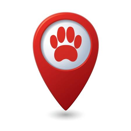 huellas de perro: Puntero mapa rojo con el icono de la pata del animal doméstico.