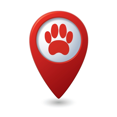 Red map pointer with pet paw icon.