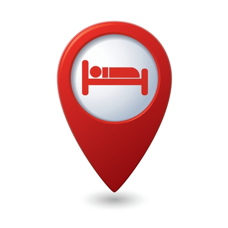 Red map pointer with hotel icon. Reklamní fotografie - 36125655