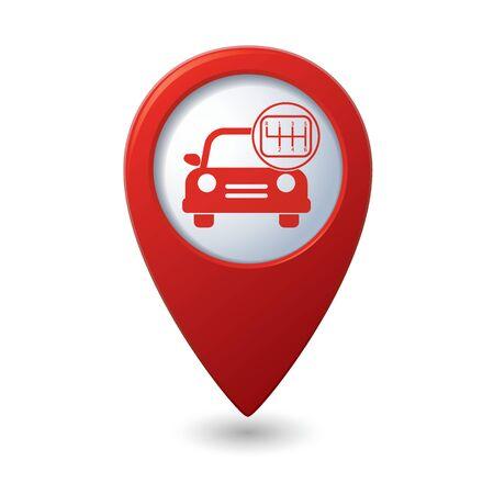 pointer stick: Servizio auto. Auto con turno di bastone sulla mappa rosso puntatore.