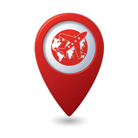 Map pointer with airplane and earth globe icon. Vector illustration Vector