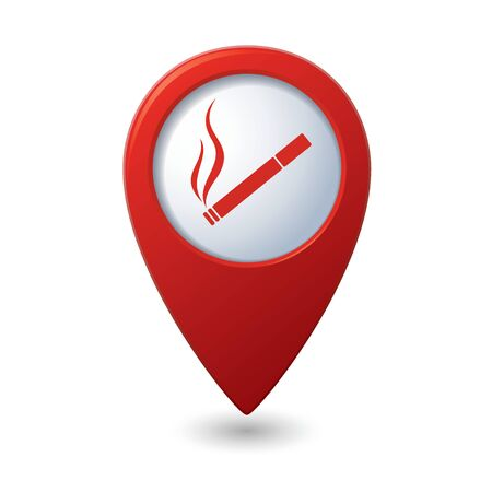 smoking place: Red map pointer with cigarette icon. Smoking sign. Illustration