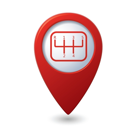shift: Stick shift icon on red map pointer. Illustration