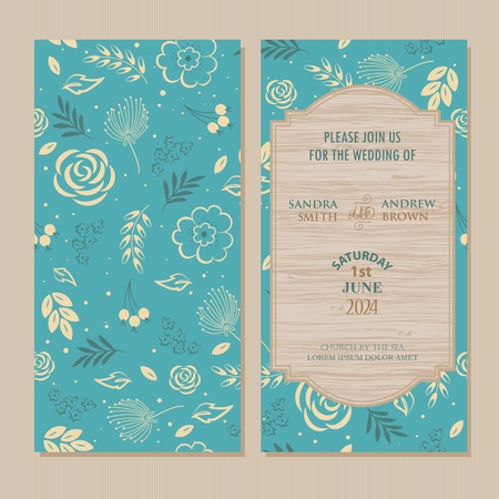 woodsy: Wedding Invitation Card with blue floral and wood background.