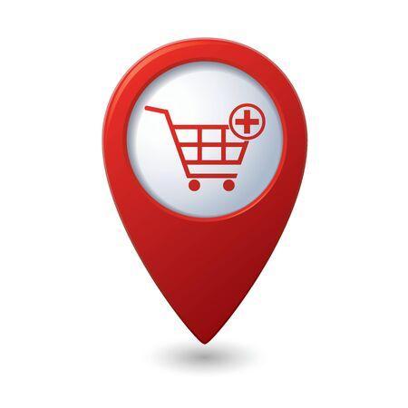 carro supermercado: Los marcadores del mapa con carrito de compras icono. Ilustración vectorial