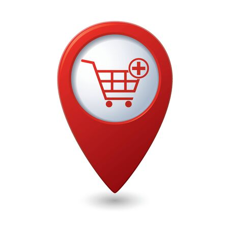 cart icon: Map pointer with shopping cart icon. Vector illustration Illustration
