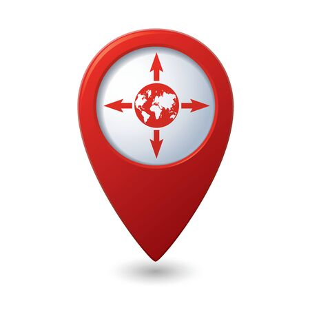 navigator: Map pointer with arrows and globe icon. Vector illustration