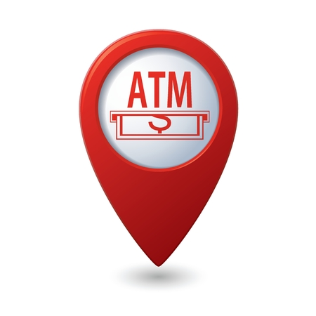 cashpoint: Map pointer with ATM cashpoint icon. Vector illustration