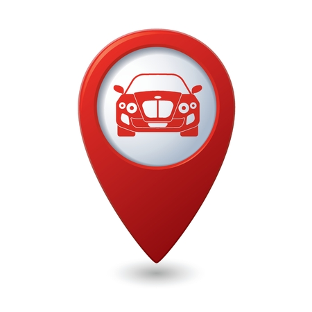 map pointer: Map pointer with car icon. Vector illustration