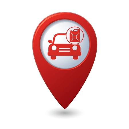 Map pointer with gas station icon. Vector illustration