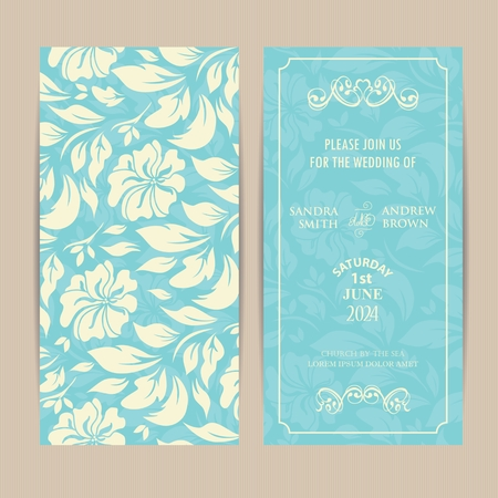 Wedding Invitation Card with White Flowers on Blue Background.