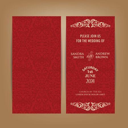 Tarjeta roja del boda del vintage invitación o aviso. Ilustración de vector