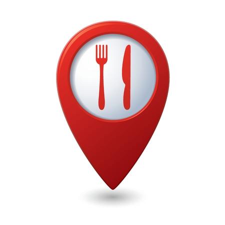 レストラン アイコンを持つマップ ポインター。ベクトル イラスト