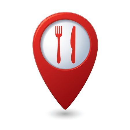 Map pointer with restaurant icon. Vector illustration