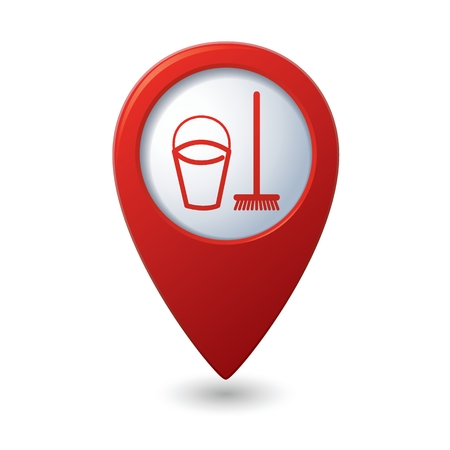 mops: Map pointer with bucket and mop for cleaning icon. Vector illustration isolated on white background